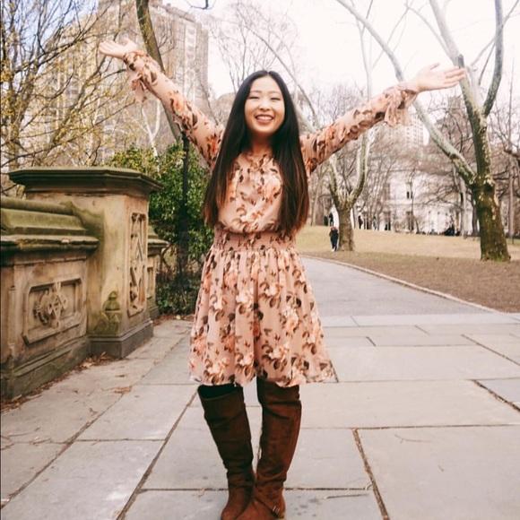 Xhilaration Dresses & Skirts - Fall floral dress in blush pink!